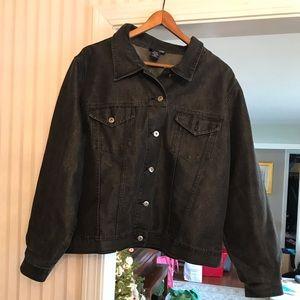 Lane Bryant black metallic jean denim jacket 26/28